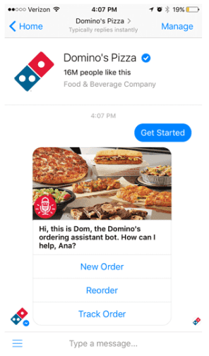 Domino's pizza chatbot