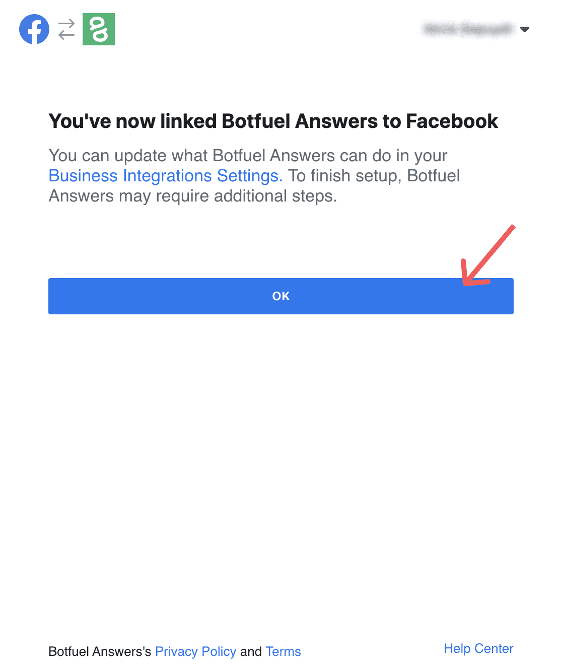 Connect to Facebook - ok